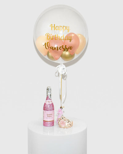 Personalized Bubble Balloon Filled With Rose Gold, Peach & Gold Balloons