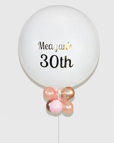 Personalized Jumbo Balloon With Mini Balloons - White, Rose Gold, Gold