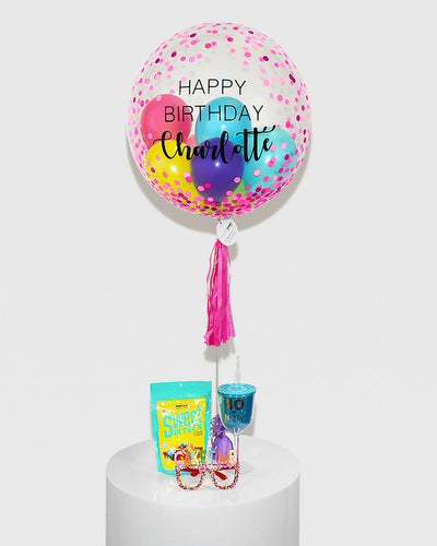 Personalized Pink Dots Bubble Balloon Filled With Colourful balloons