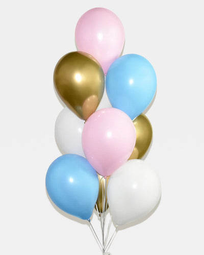 Pink, Blue, White and Chrome Gold Balloon Bouquet