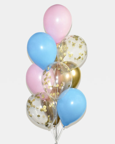 Pink, Blue and Gold Confetti  Balloon Bouquet