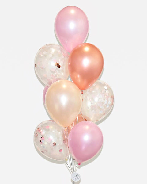 Pink, Blush Nude and Rose Gold Confetti Balloon Bouquet