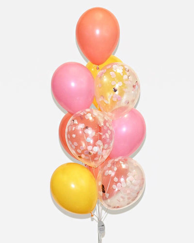 Pink, Coral, Yellow and Rose Gold Confetti Balloon Bouquet