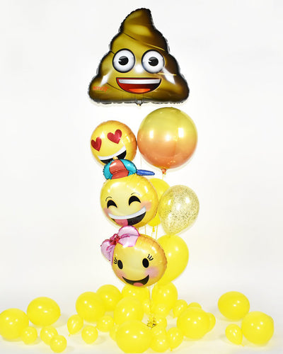 Poop Emoji Confetti Balloon Bouquet - Yellow