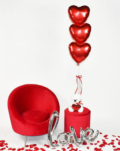 Bouquet Ballons Coeur Rouge