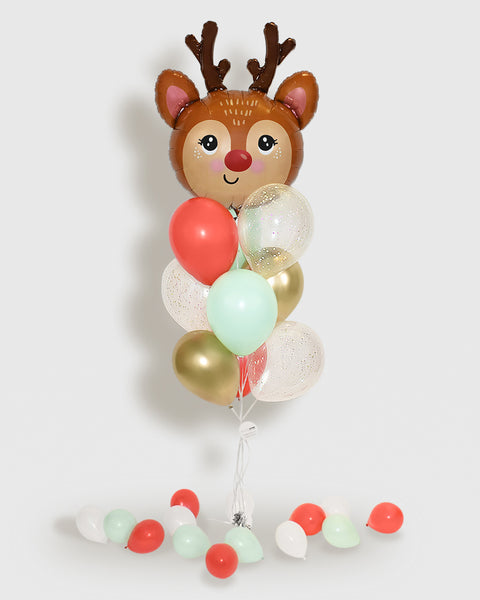 Red Nose Reindeer Confetti Balloon Bouquet -  Mint, Red, Gold, White