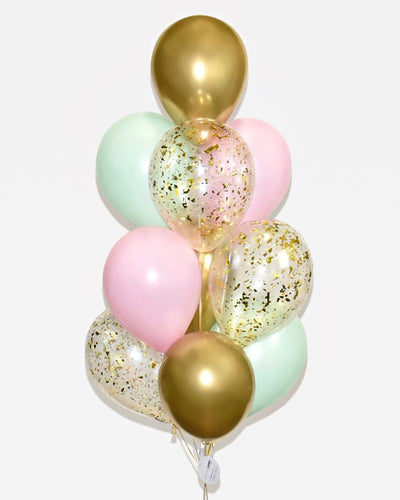 Bouquet Ballons Confettis - Rose, Menthe, Or Chrome