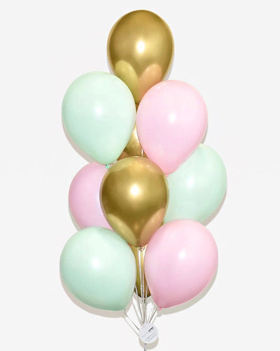 Rose, Mint and Chrome Gold Balloon Bouquet