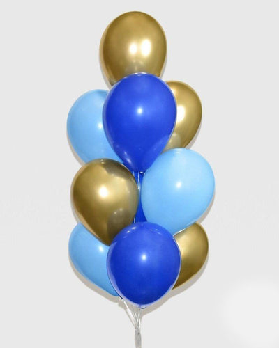 Royal Blue, Blue and Chrome Gold Balloon Bouquet
