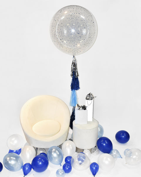 "Giant 36"" Blue Confetti Balloon With Tassel"