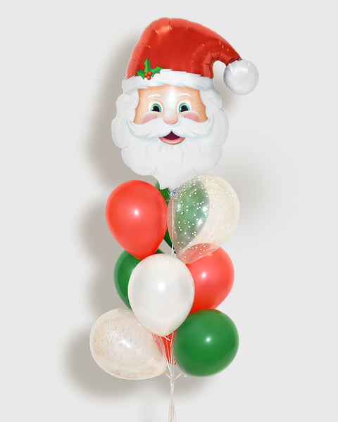 Santa Claus Confetti Balloon Bouquet - Red, Green, White