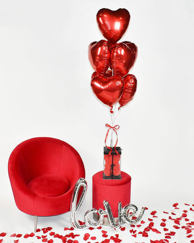 Seven Red Heart Balloon Bouquet