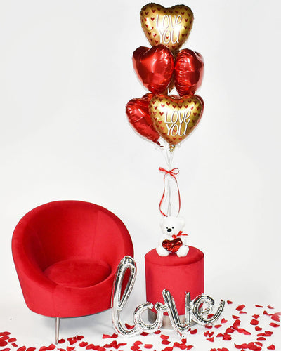 Seven Red & Gold Heart Balloon Bouquet