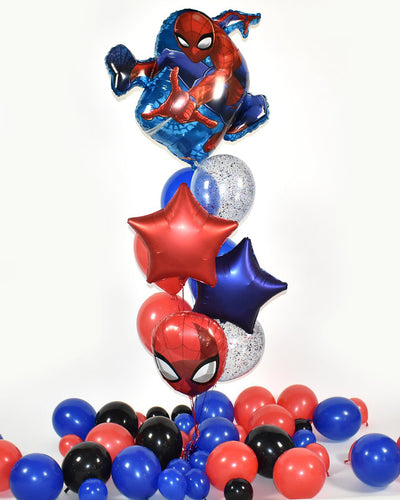Spider-Man Confetti Balloon Bouquet - Blue, Red