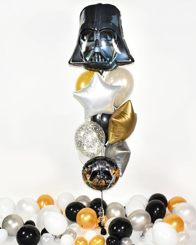 Star Wars Confetti Balloon Bouquet - Black, Gold, White, Silver
