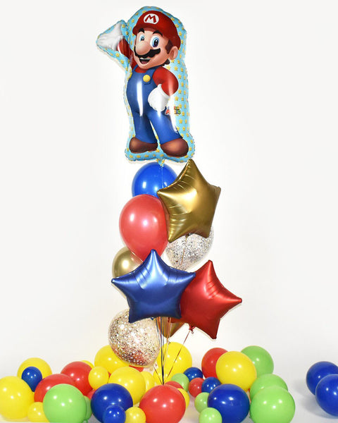 Super Mario Confetti Balloon Bouquet - Red, Blue, Chrome Gold