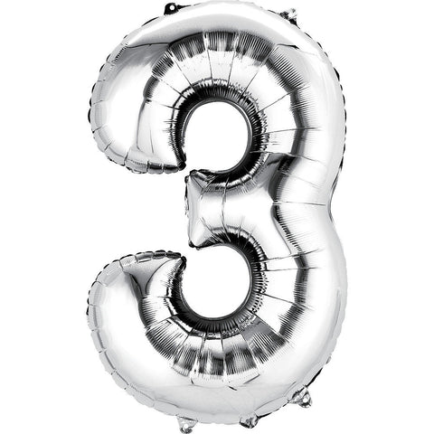 Silver Number Balloon 34in