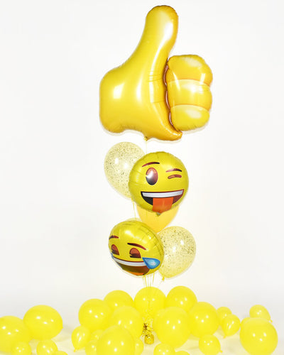 Thumbs Up Emoji Confetti Balloon Bouquet - Yellow
