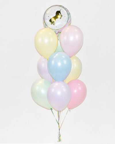 Unicorn Balloon Bouquet - Pastel Pink, Purple, Mint, Blue, Yellow
