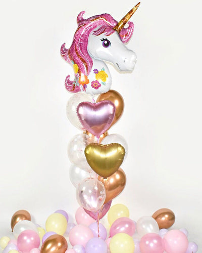 Bouquet Ballons Licorne avec Confettis - Rose, Cuivre, Or Chrome, Rose Gold
