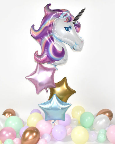 Unicorn Star Balloon Bouquet - Rose, Gold, Blue
