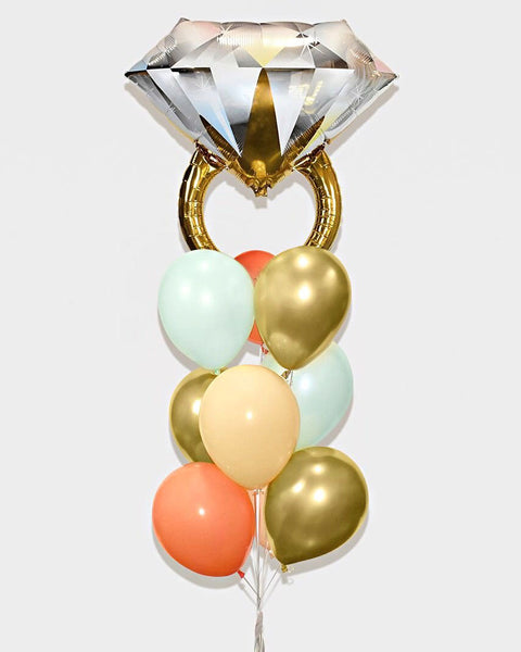 Wedding Ring Balloon Bouquet - Mint, Coral, Beige, Chrome Gold
