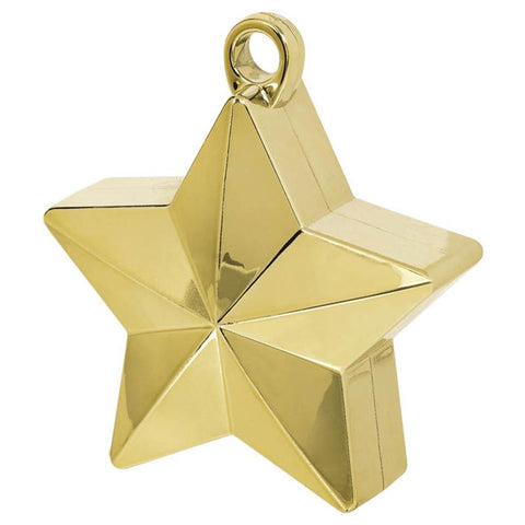 a gold star-shaped balloon weight