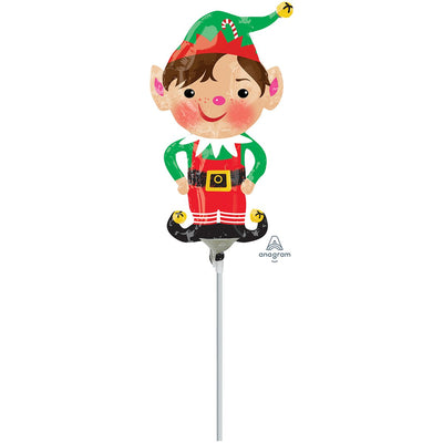 elf shaped air filled foil balloon that stands on white plastic stick