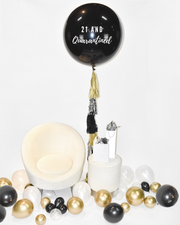 "Giant 36"" Black Balloon With Tassel"