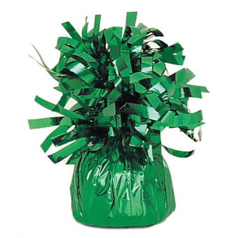 green foil balloon weight to hold bouquets down to the ground