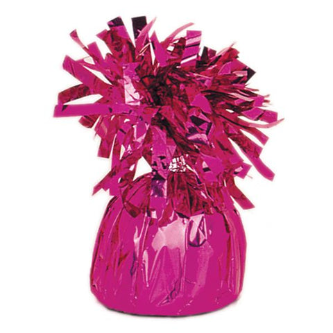 magenta foil balloon weight to hold bouquets down to the ground