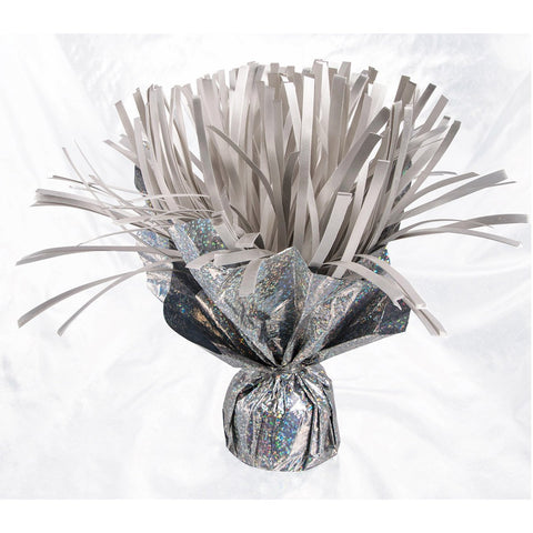 a silver holographic weight with silver pom poms on top