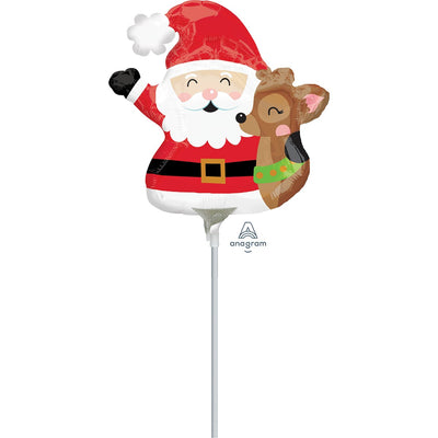 foil ballloon in the shape of santa clause with a reindeer on a white plastic stick