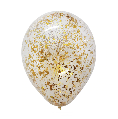 "12"" Gold Metallic Confetti Latex Balloon"