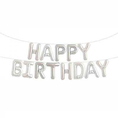 Silver Happy Birthday Balloons Letter