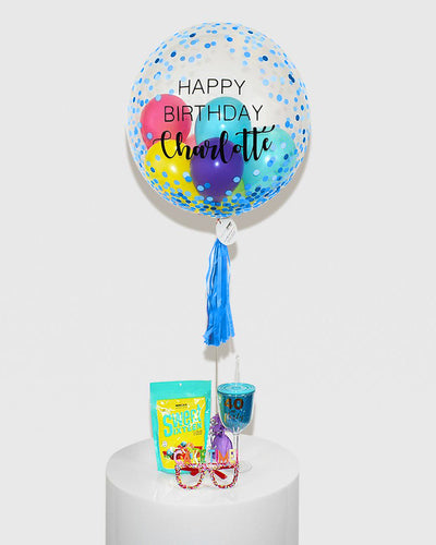 Personalized Blue Dots Bubble Balloon Filled With Colourful balloons