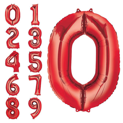 Red Number Balloon 34in
