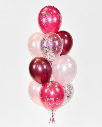 Birthday Confetti Balloon Bouquet - Burgundy, Pink, Fuchsia