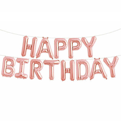Rose Gold Happy Birthday Balloons Letter