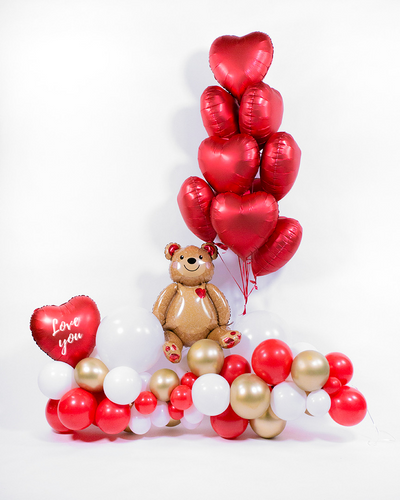 Teddy Bear Balloon garland with Heart Balloon Bouquet - Red, White, Chrome Gold