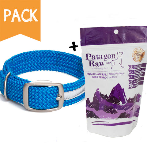 Pack Collar Trenzado Reflectante Azul
