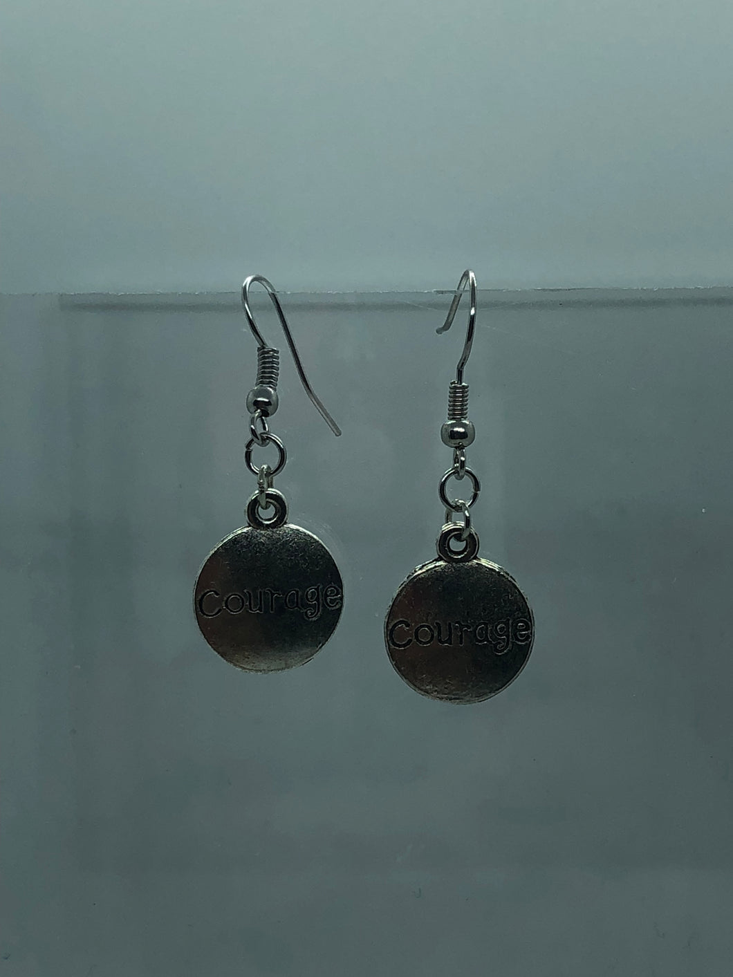 Silver Courage Coin Earrings