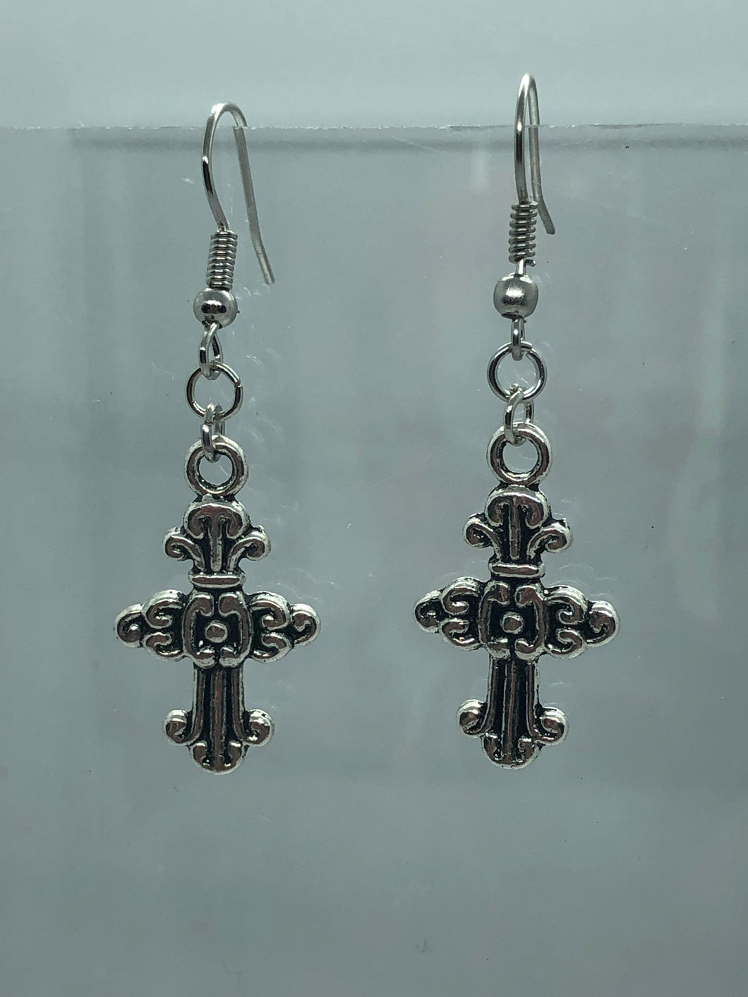 Silver Celtic Cross 1 Earrings