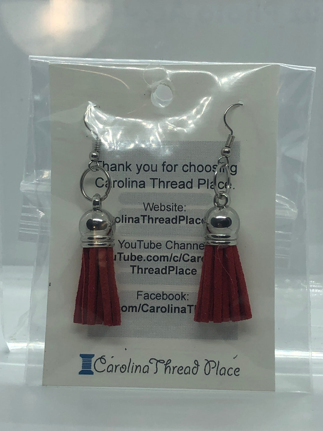 Silver Leather Tassel Earrings - 13