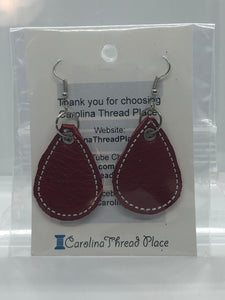 Silver, White and Red Leather Tear Drop Earrings