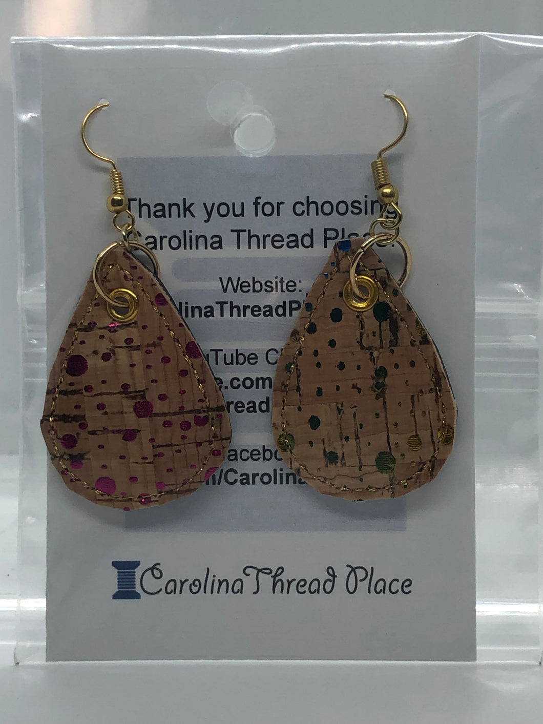 Gold Spotted Cork  Tear Drop Earrings - 2