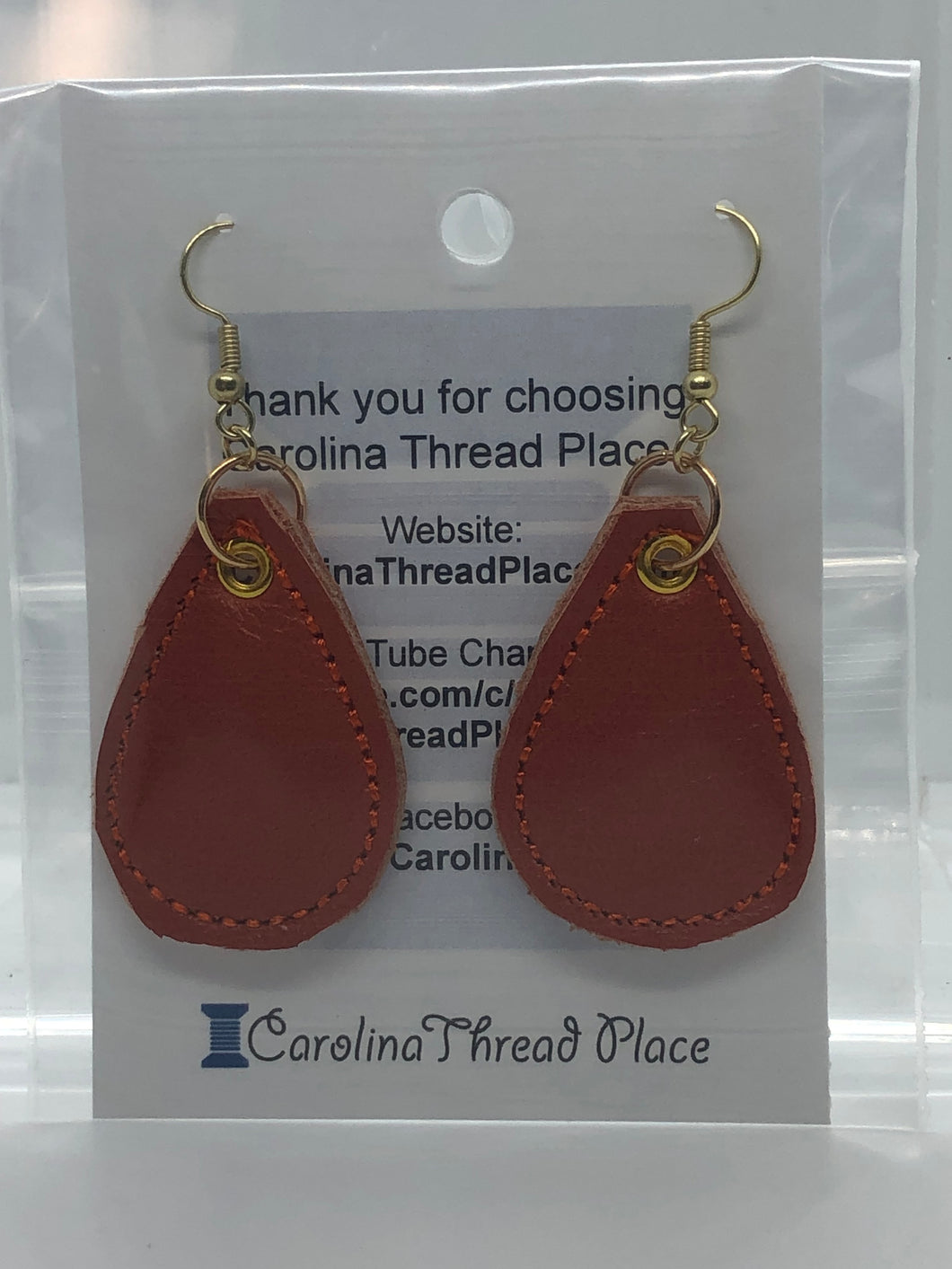 Gold Orange Leather  Tear Drop Earrings