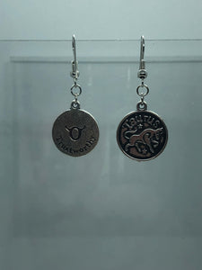 Silver Taurus Coin Earrings