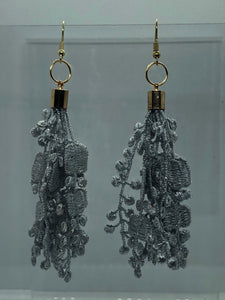Gold Grey Lace Earrings