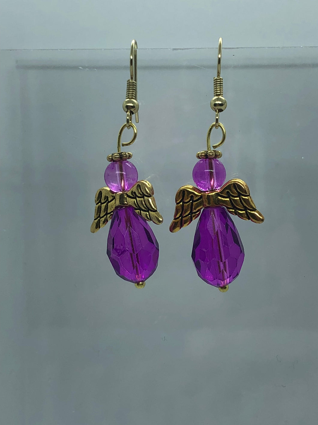 Large Gold and Light Purple Angel Earrings